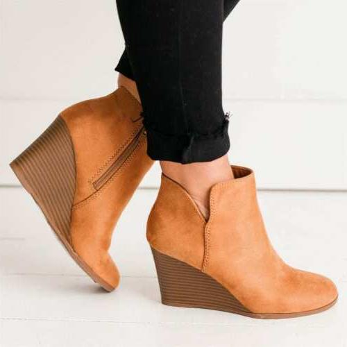 Women's Boots Faux Round Toe Casual Booties