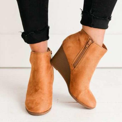 US Womens Ankle Boots Zipper Boots Shoes Size