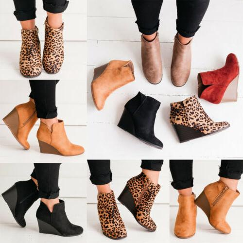 US Womens Heel Ankle Boots Ladies Casual Zipper Boots Shoes Size