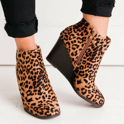 US Wedge Heel Ankle Boots Casual Zipper Boots Size