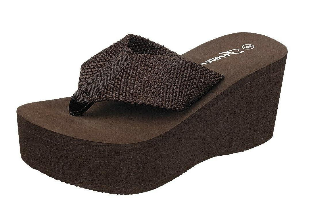 "WEDGE EVA 3"" PLATFORM THONG FLIP FLOPS SANDALS"