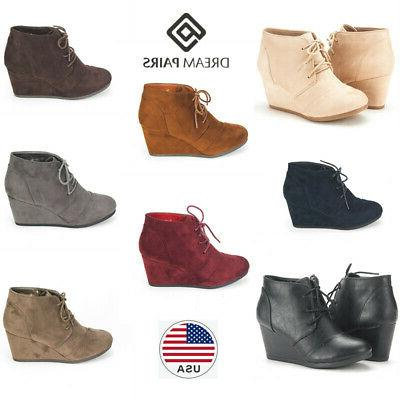women ankle boots low wedge heel ladies