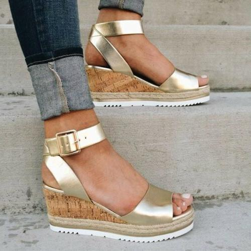 Womens Ladies Strap Summer Espadrilles Chunky