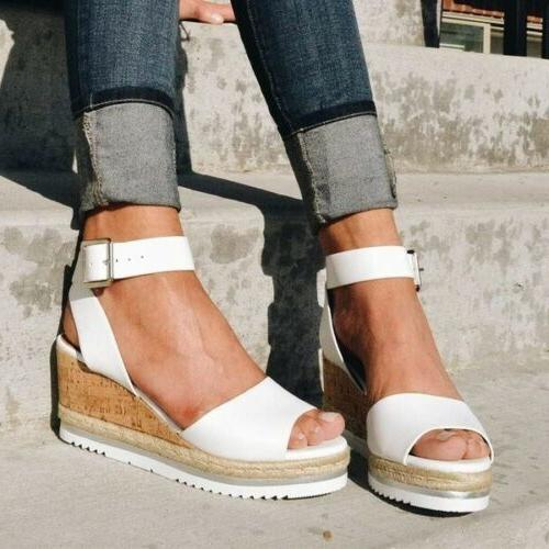Womens Platform Wedge Ladies Strap Espadrilles Chunky