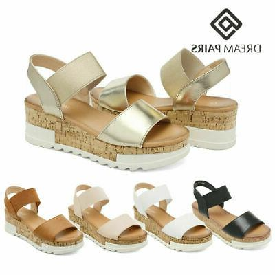 women ankle strap wedge heel sandals open