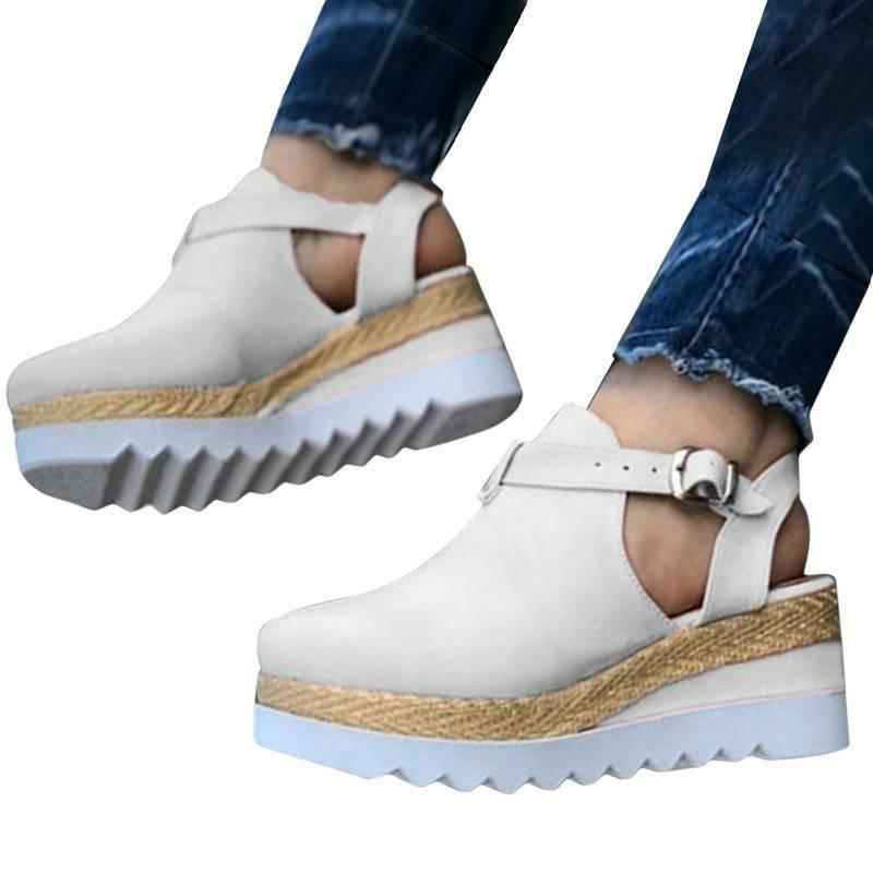 Women Block Shoes Platform Wedge Sandals Strap Mid Size