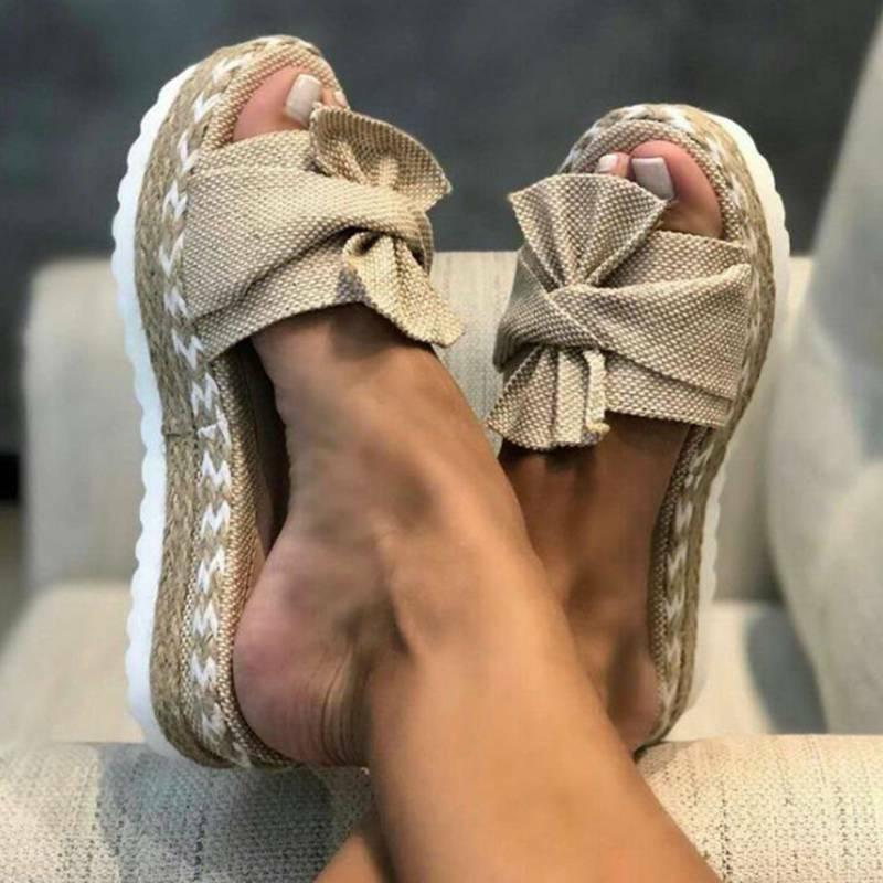 Women Knot Wedge Platform Mules Beach
