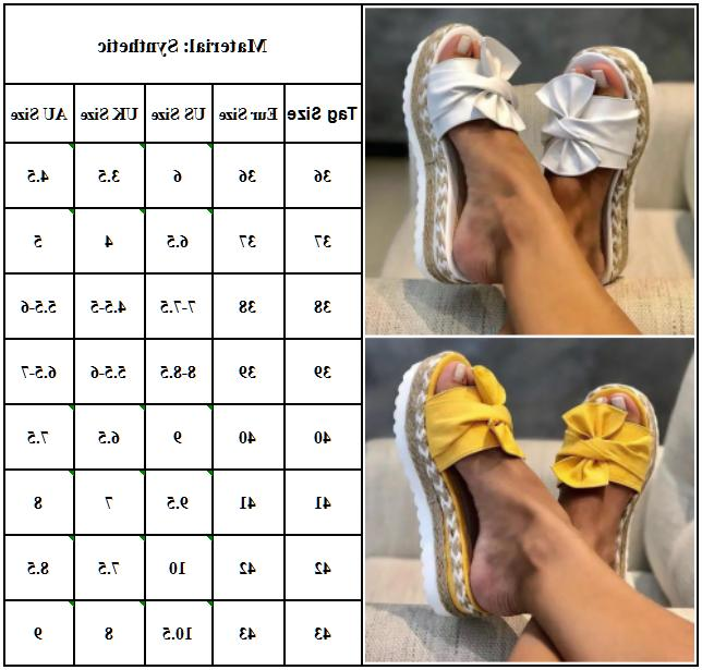 Women Bow Wedge Espadrilles Mules Beach Shoes