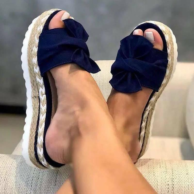 Women Bow Knot Wedge Platform Mules