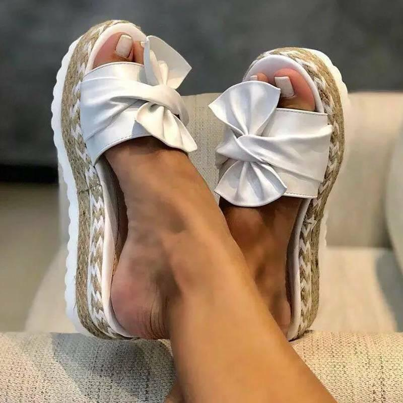 Women Bow Knot Wedge Platform Espadrilles Mules Flat Beach Shoes