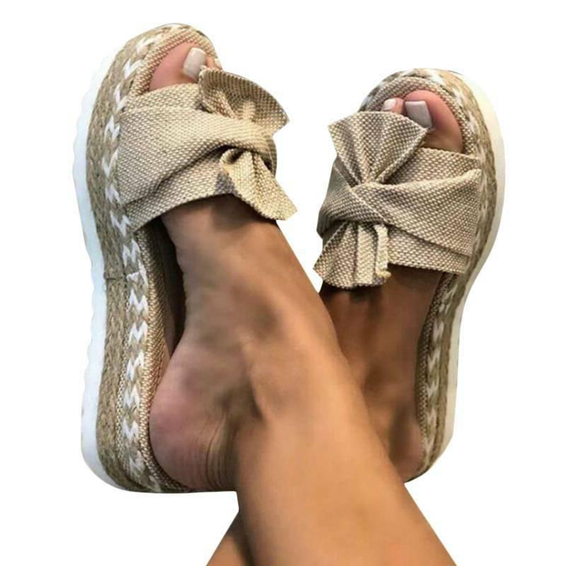 Women Bow Knot Wedge Mules Beach