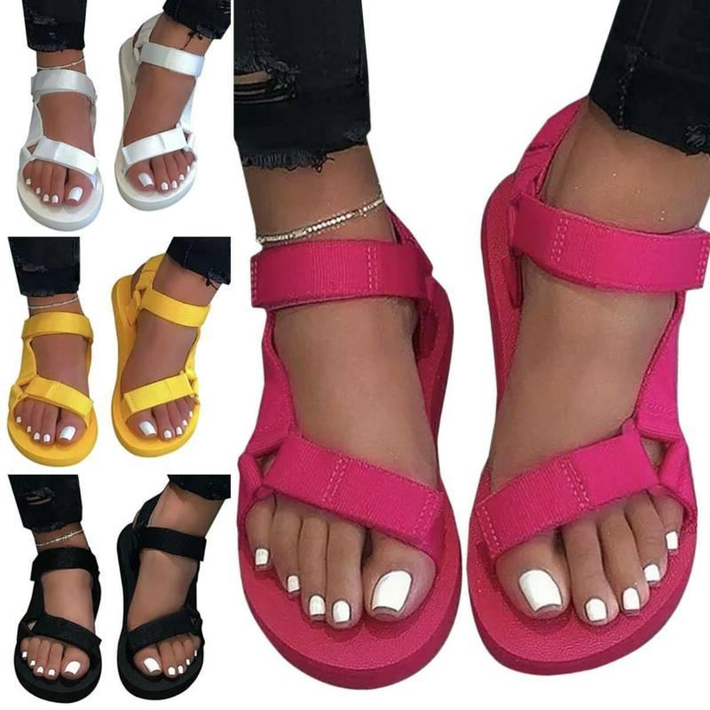 Womens Flat Slide Sandals Ankle Strap Comfy