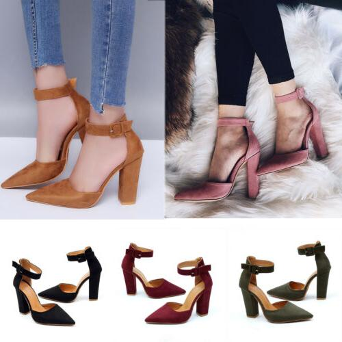 Women High Heels Ankle Strap Chunky Sandals Party Dress