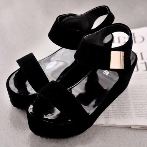 Women's Wedge Summer Platform Toe Chunky Shoes US