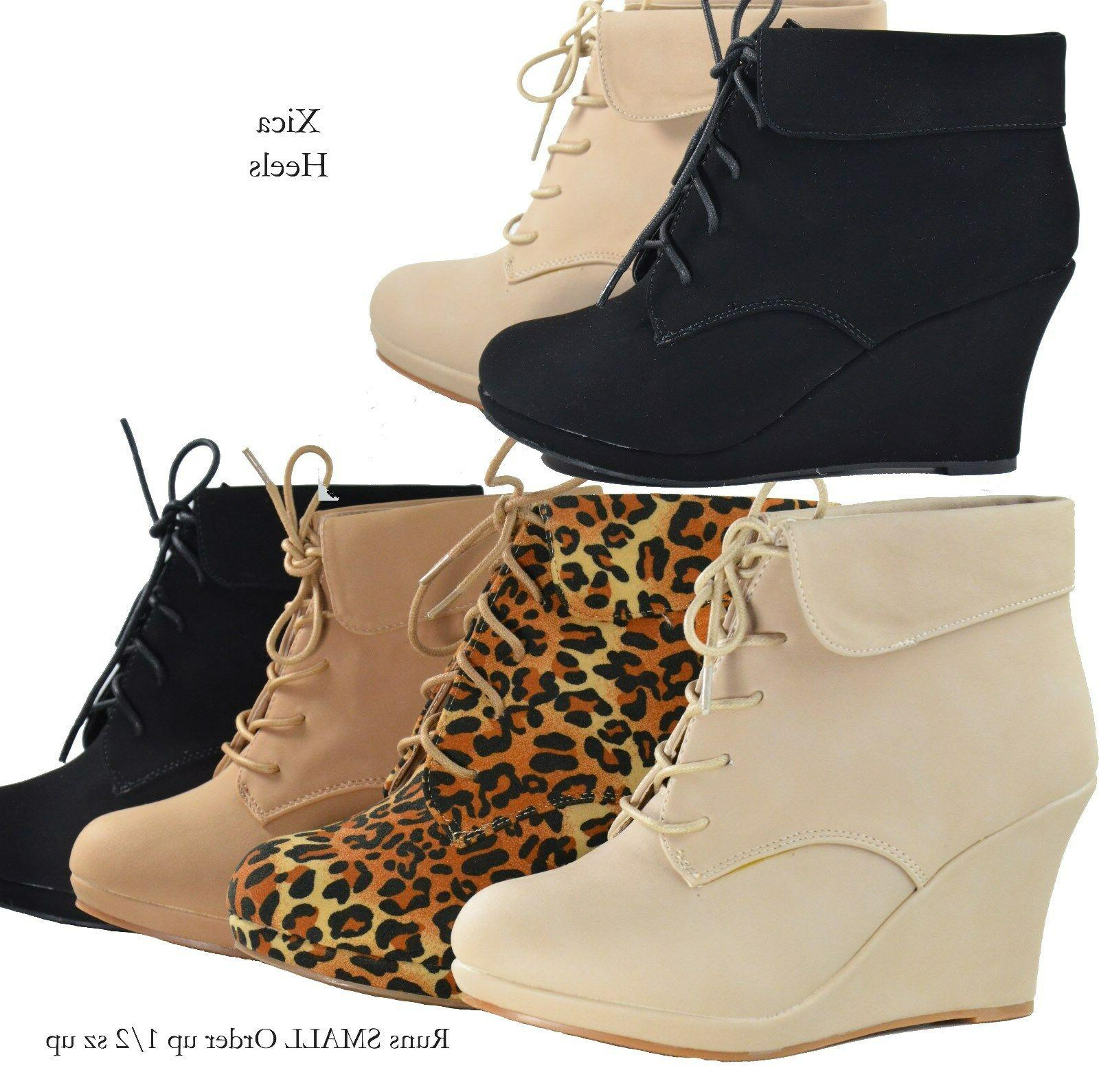 Women's Boots Wedge Almond Platform Lace Up Shoes