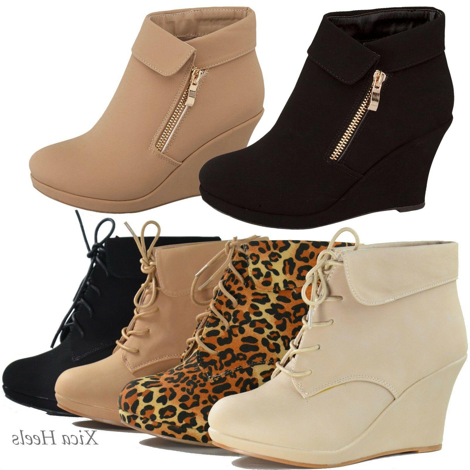 Women's Ankle Wedge Almond Up New