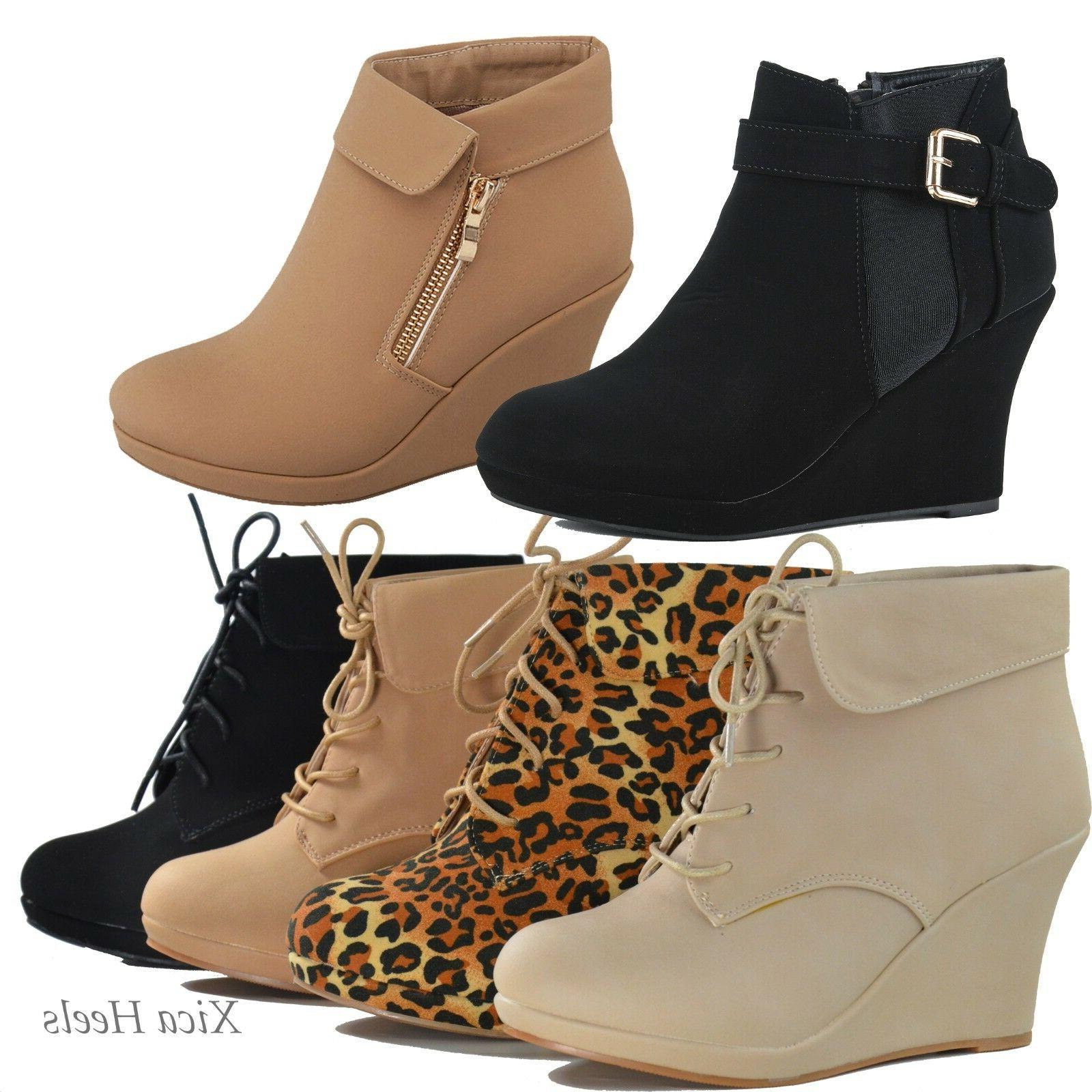 women s ankle boots wedge almond toe