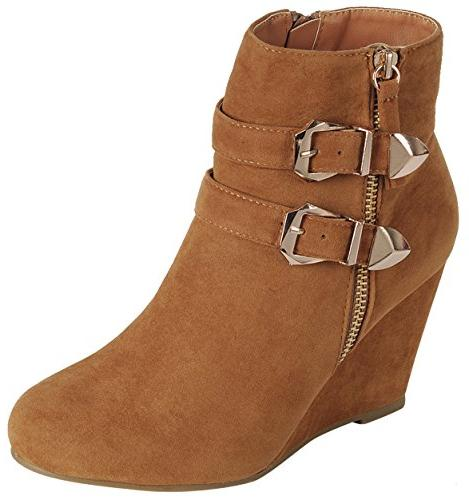 Forever Link Women's Ankle Strappy Zipper Wedge Bootie,Color:Tan,