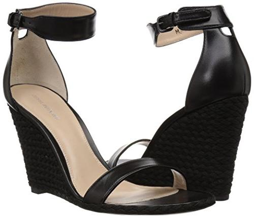 Stuart Wedge Sandal, Black Nappa, 7.5