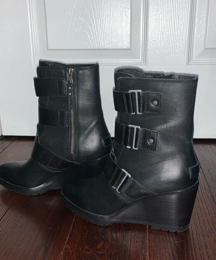women s black wedge boots size 7