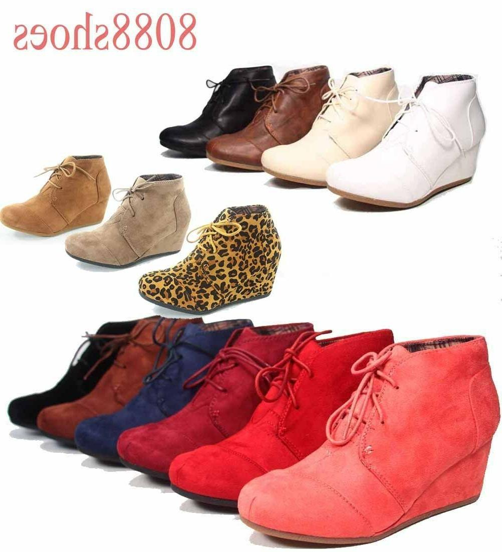 Women's Oxford Booties up Low Wedge Shoes Size -