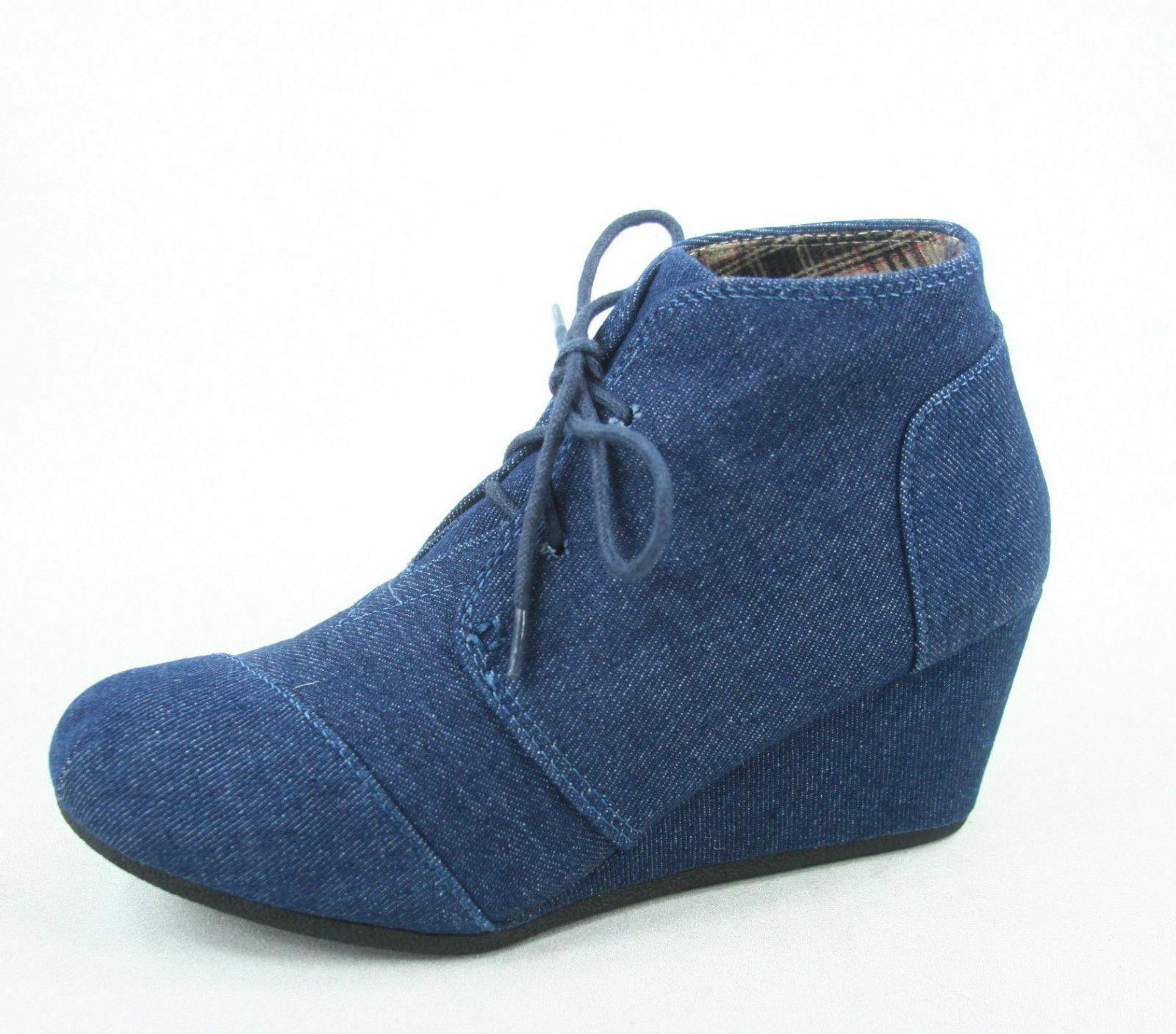 Women's Oxford Booties Lace Wedge - 10