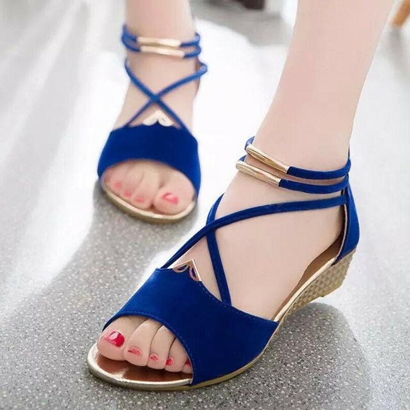 Fashion Rome Summer Women Beach Shoes Wedge Open Toe Flat Sa