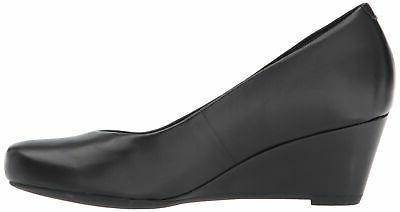 Clarks Women's Tulip Wedge Pump Black Leather 7 M