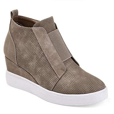 women s heel platform casual sneakers zipper