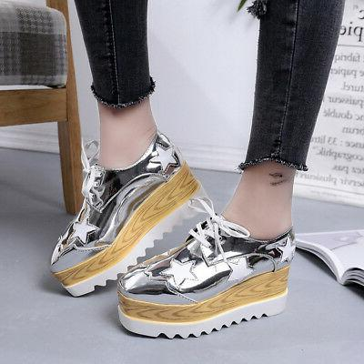 Women's High Wedge Sneakers Lace Shoes