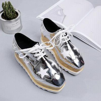 Women's Platform Creepers Wedge Shoes Oxfords