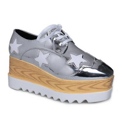 Women's High Wedge Sneakers Shoes Leather