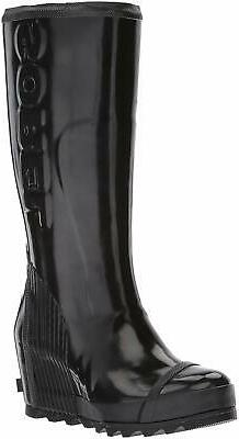 SOREL Women's Joan Rain Wedge Tall Gloss Boot, Black, Size 1