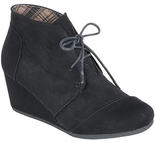women s lace up hidden wedge ankle