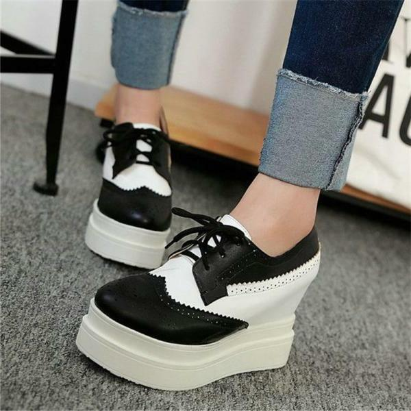 Women's Lace Up Muffins Platform Brogue Ankle Sneakers Shoes