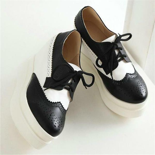 Women's Platform Brogue Wedge Ankle Sneakers Punk Shoes