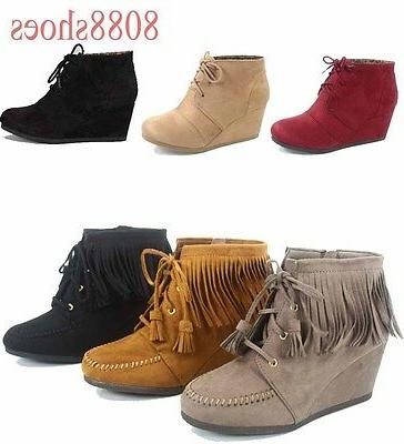 Women's Low Fringe Lace Up Booties