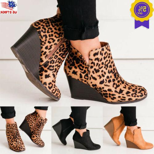women s wedge heel ankle boots chunky