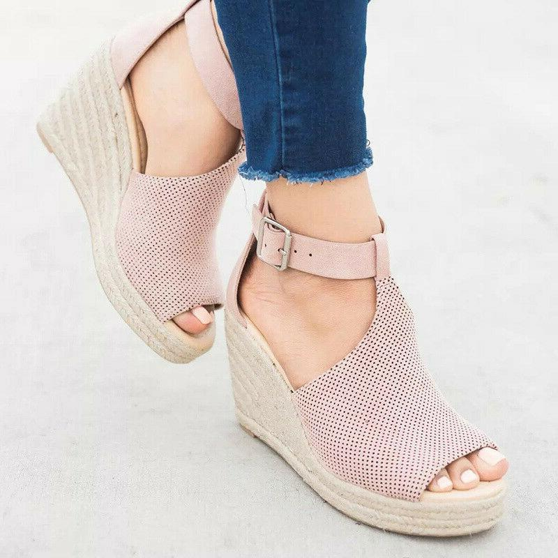 Women's High Heel Espadrilles Ankle Casual Size