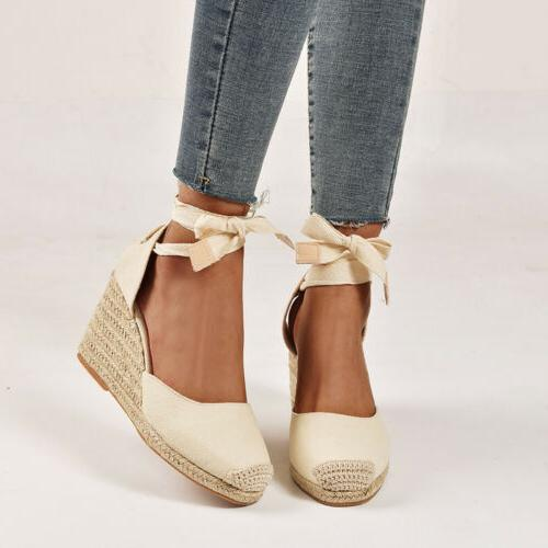 Women Sandals Platform Heel Slingback Espadrilles Pumps Lady Shoes