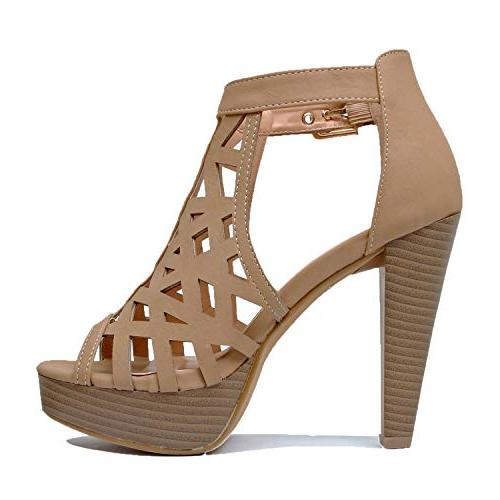Guilty Shoes Cutout Gladiator Platform Fashion High Sandals Heeled