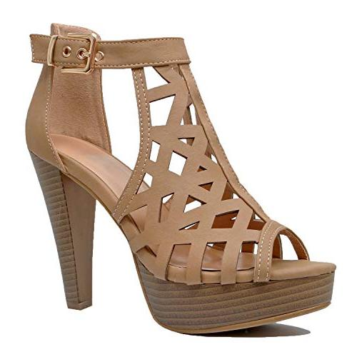 Guilty Cutout Ankle Strap Platform Fashion High Sandals Pu, B