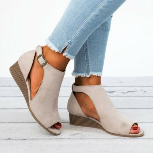 Womens Ladies Peep Wedge Buckle Ankle Strap Casual Size 5-10