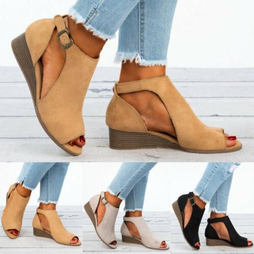 Womens Ladies Toe Wedge Sandals Buckle Ankle Strap Casual 5-10