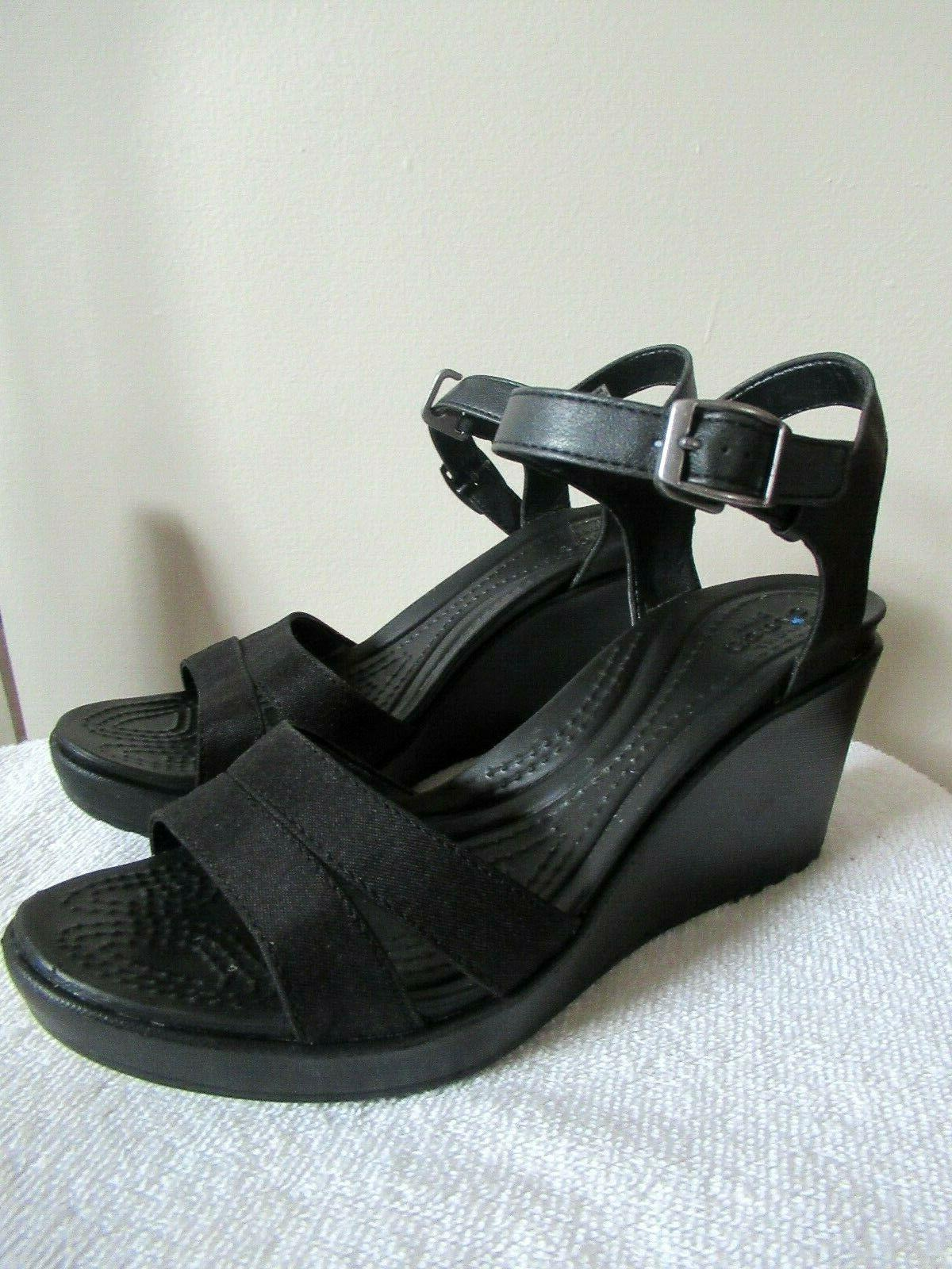 womens leigh sandal wedge black size 8