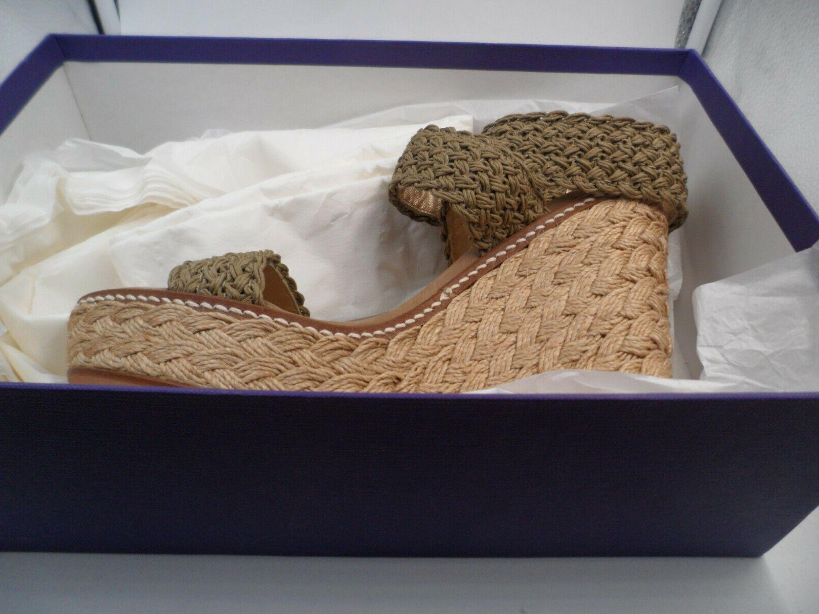 Stuart NIB Alex Crochet Wedge Sandal Ankle Wrap Swamp 6.5