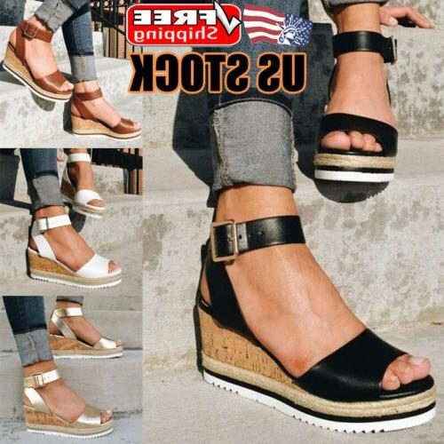 womens platform wedge sandals ladies ankle strap