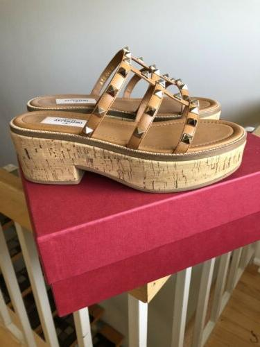 Valentino Shoes Stud Cork Platform Sandals Shoes 6 NIB