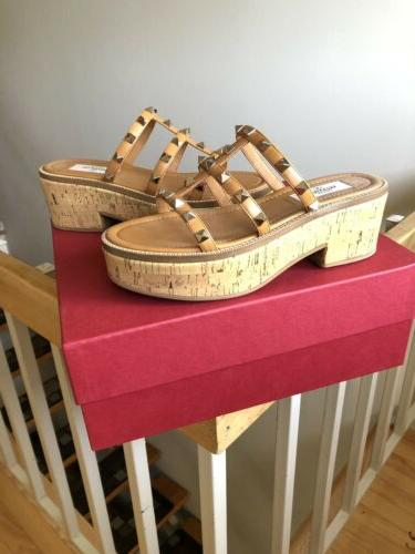 womens shoes rock stud cork tan wedge