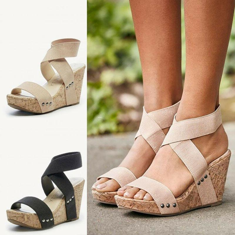 Womens Heel Sandals Open Toe Chunky Strap Size